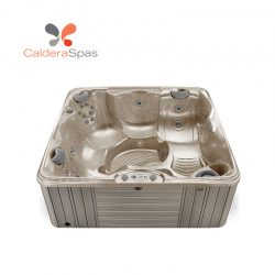 A Caldera Capitolo hot tub with a Desert shell and Coastal Grey siding.