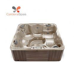 A Caldera Capitolo hot tub with a Desert shell and Espresso siding.