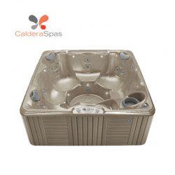 A Caldera Marino hot tub with a Desert shell and Coastal Grey siding.