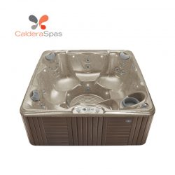 A Caldera Marino hot tub with a Desert shell and Espresso siding.