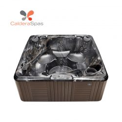 A Caldera Marino hot tub with a Midnight Canyon shell and Espresso siding.