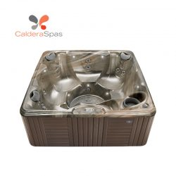 A Caldera Marino hot tub with a Tuscan Sun shell and Espresso siding.