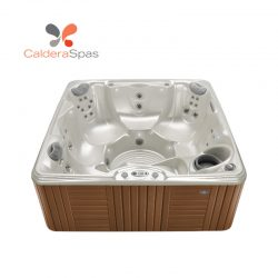 A Caldera Marino hot tub with a White Pearl shell and Teak siding.