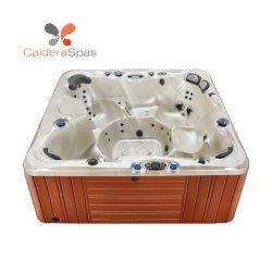 A Caldera Niagara hot tub with a Champagne Opal shell and Redwood siding.